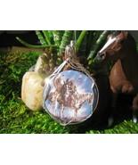 Men on Horseback Ceramic Pendant Wire Wrapped - $47.00