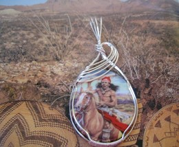 Ceramic Cameo Freedom of the Plains Pendant Handcrafted - $47.00