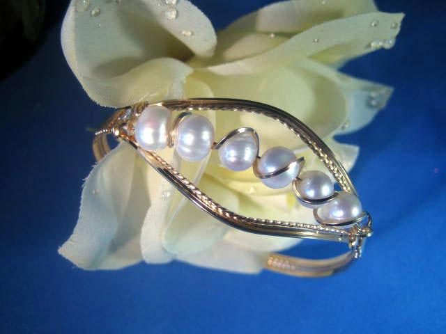 Gold and Pearl Bangle Bracelet Handcrafted