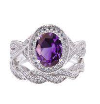 Purple Amethyst Womens Halo Engagement Ring Set 14k White Gold Finish 925 Silver - $116.99