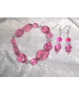 Passionate Pink Glass and Ceramic Bead Handmade Bracelet and Earring Set - $8.00