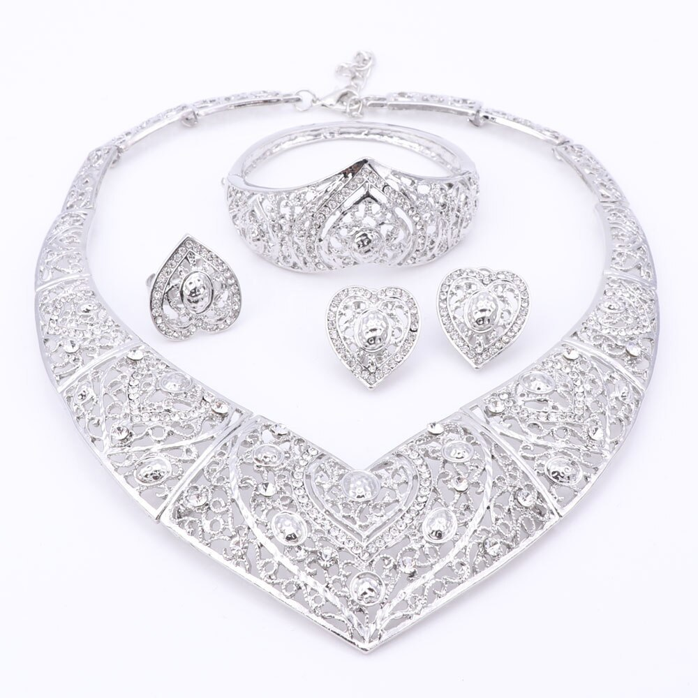 Jewelry Sets African Beads Heart Shaped Collar Statement Silver Plated Necklace  image 2