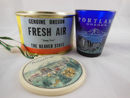 Portland Oregon Souvenir Shot Glass Cobalt blue + Canned Fresh Air + etc... - $19.79