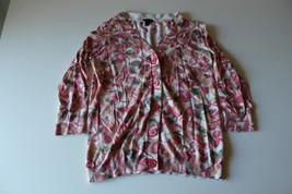 W13234 Womens TALBOTS Pink/Tan Floral CARDIGAN SWEATER 3/4 Sleeve SMALL - $30.89