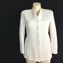 Talbots 12 Petite Large White Floral Texture Italian Fabric Long V Neck ... - $22.95