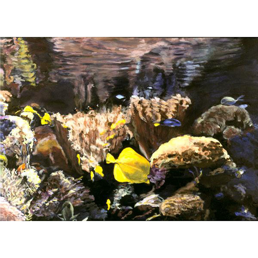 In The Deep VI  (An Original Painting Set in an Aquarium)