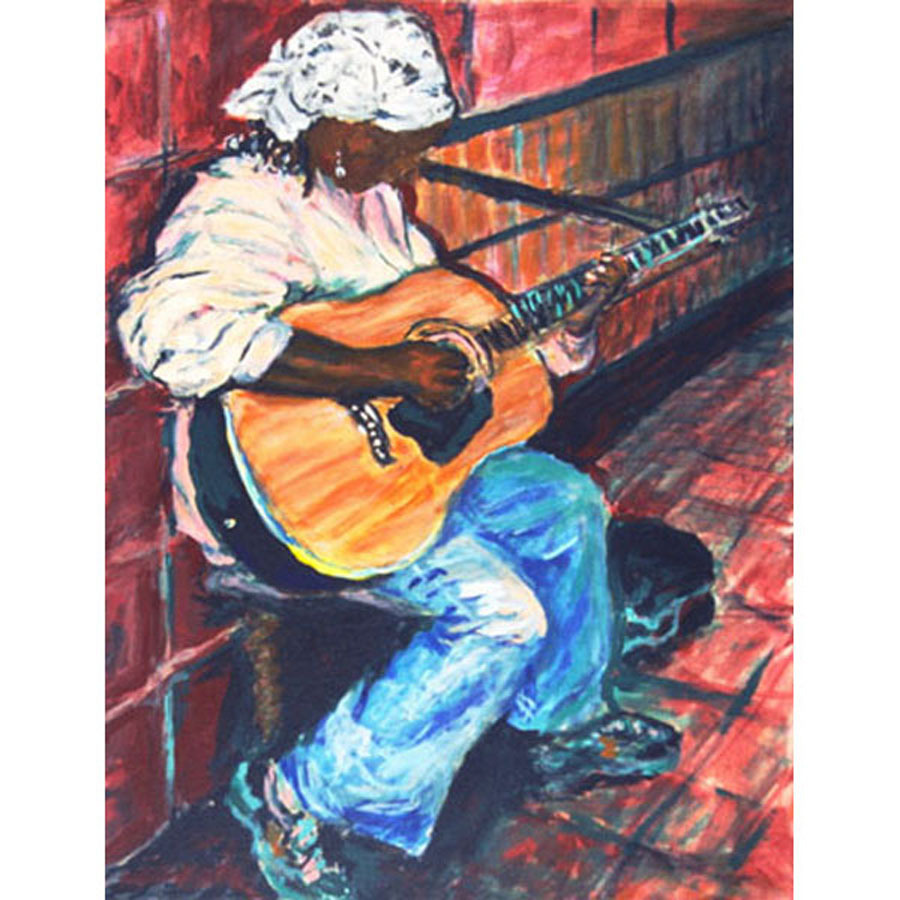 Metro Music I (Original Painting of A Subway Musician)
