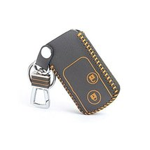 Genuine Leather Car Key Chain Smart Key Cover Case for Crosstour, Black/Yellow