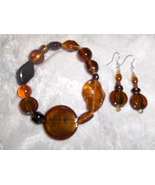 Amber Glow Glass and Ceramic Bead Handmade  Bracelet and Earring Set - $8.00