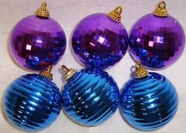Vintage Plastic PURPLE Disco & BLUE Ribbed Christmas Ornaments - $12.00