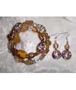 Golden Shadow Glass and Ceramic Bead Handmade  Bracelet and Earring Set - $8.00