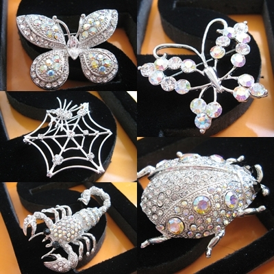 CUTE ALLOY SPIDER HANDMADE CRYSTAL COMB BRIDE BROOCH VEIL BRIDAL ACCESSORIES H16