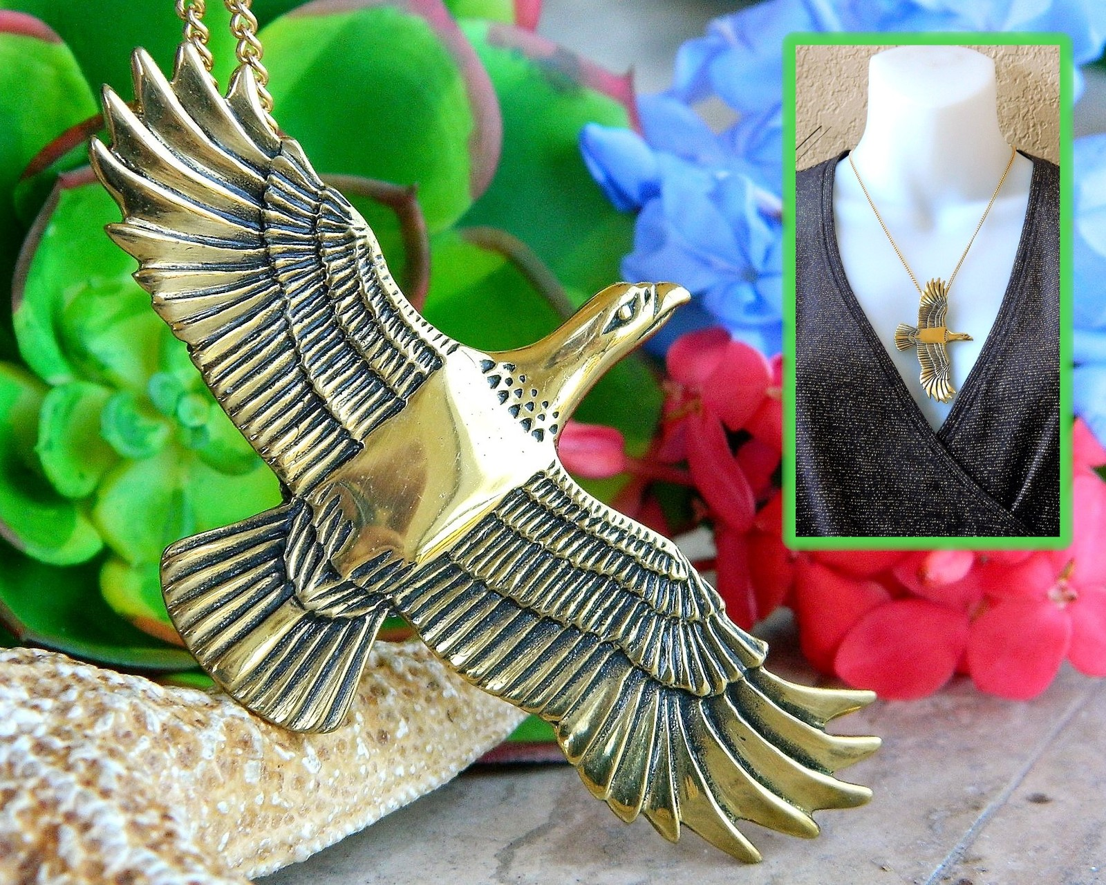 Vintage arch avary eagle bird pendant necklace gold brass signed 1988