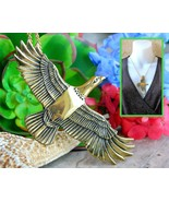 Vintage arch avary eagle bird pendant necklace gold brass signed 1988 thumbtall