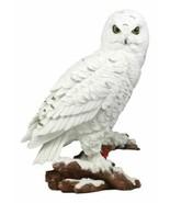 "Mystical White Snow Owl Bird Statue 12.25""Tall Nocturnal Bird Wildlife O... - $39.99"