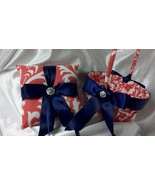 CORAL DAMASK RINGBEARER Pillow or Flower Girl Basket Osb Coral Wedding b... - $26.95