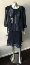 Chiffon 2 piece Ruffle Sheer Formal Blue Party skirt Suit Size 18 - $40.86