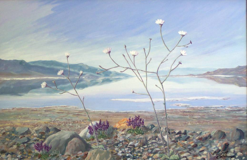 Death Valley Gravel Ghost in Bloom Realist Landscape Original Oil Painting
