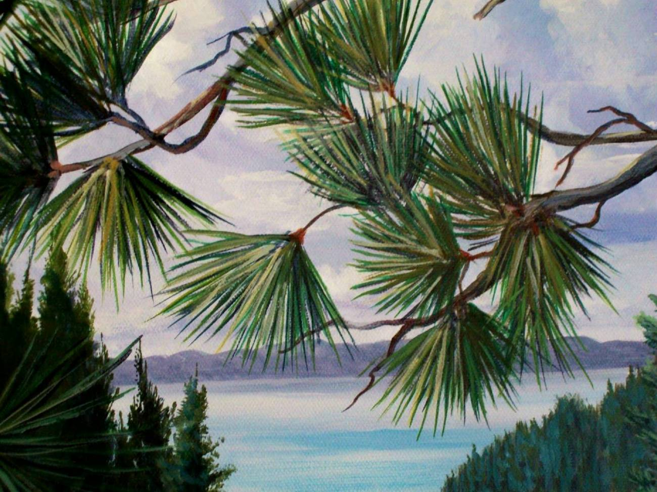 Lake Tahoe Meadow Above Original Realistic Oil Painting on stretched canvas