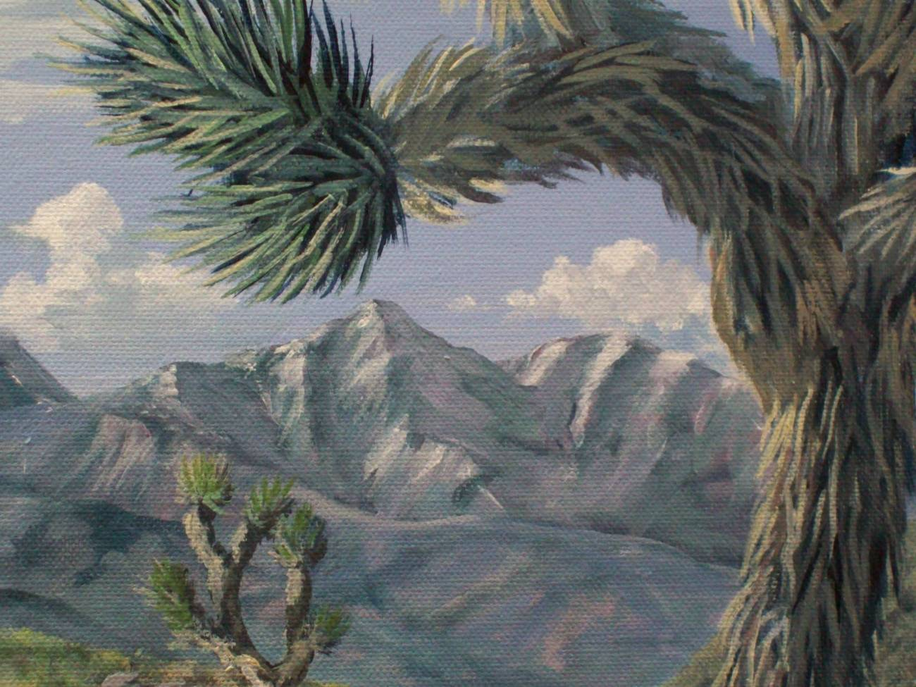 Desert Joshua Mountains Landscape Original Oil Painting on Stretched Canvas