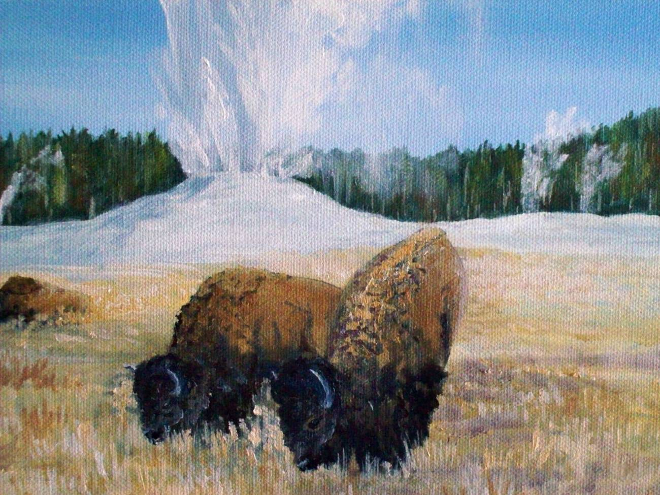 Yellowstone Old Faithful Bison Western Landscape Original Realistic Oil Painting
