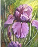 Purple Iris Original Realistic Still life Oil Painting Stretched Canvas - $365.00