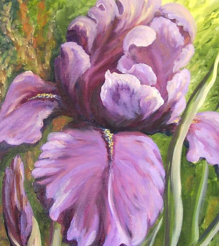 Purple Iris Original Realistic Still life Oil Painting Stretched Canvas