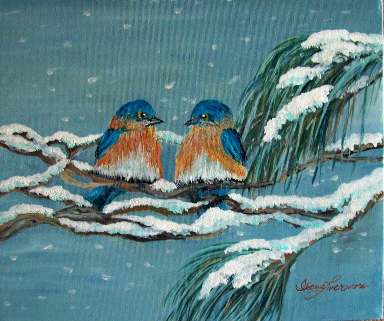 Bluebirds in a Snow Storm Original Oil Painting