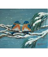 Bluebirds in a Snow Storm Original Oil Painting - $145.00