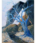 Blue Tree Surreal Original Landscape Oil Painting Stretched Canvas USA - $365.00