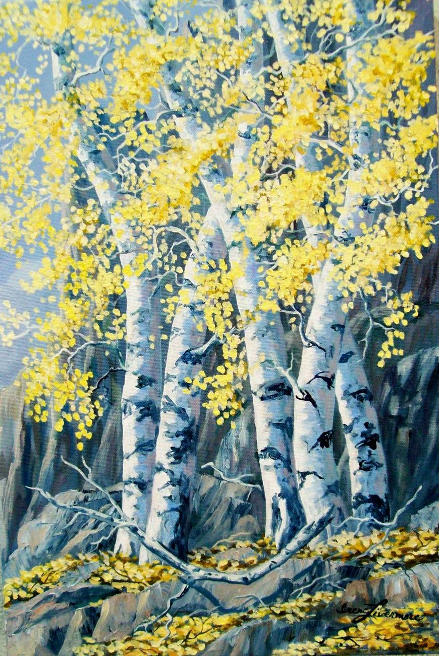Autumn Aspen Realistic Landscape Original Oil Painting Stretched Canvas