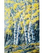 Autumn Aspen Realistic Landscape Original Oil Painting Stretched Canvas - $345.00