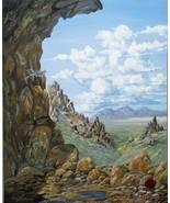 Desert Rocks Lichen and Wild Flowers Realistic Original Landscape Oil Pa... - $600.00