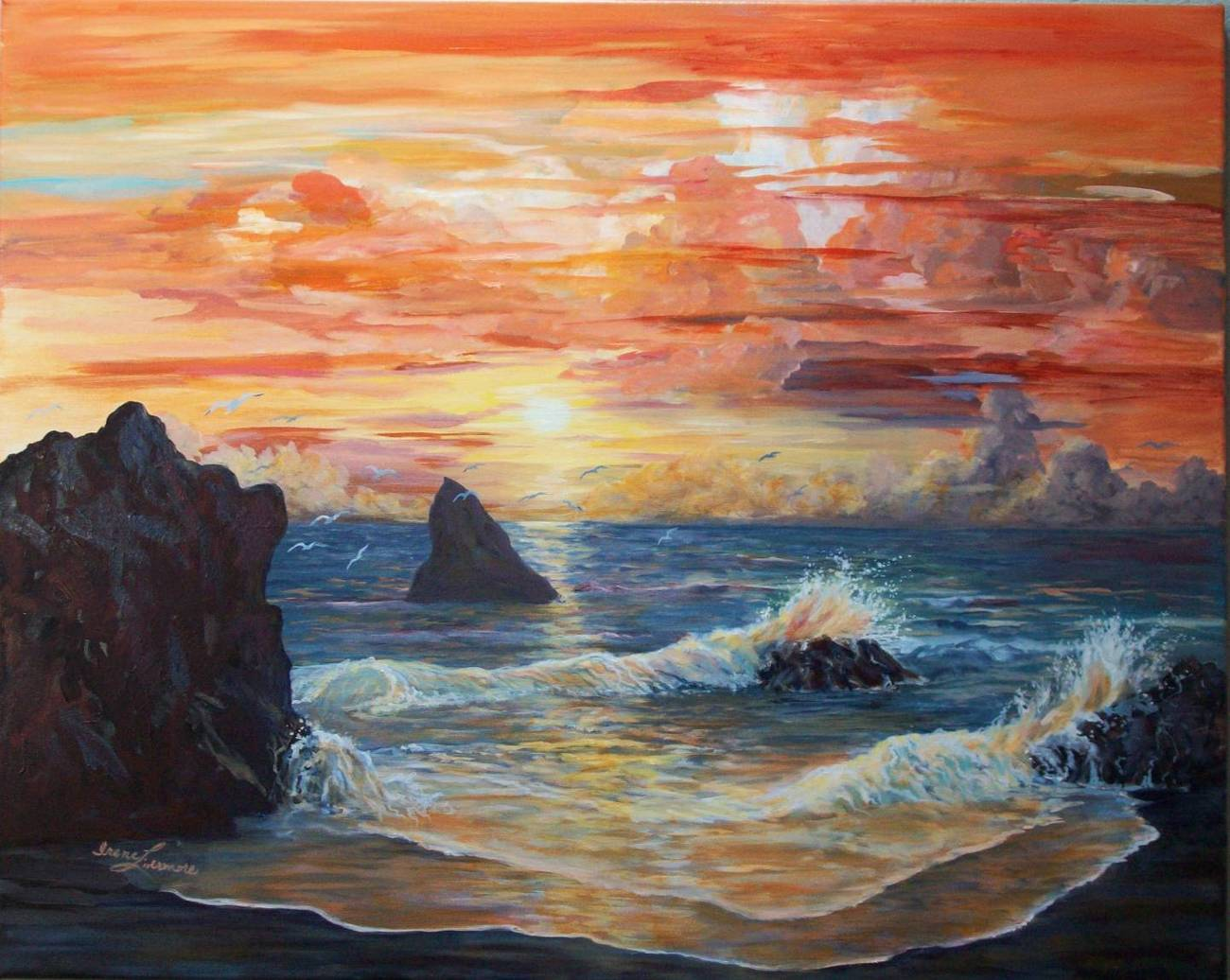 Oregon Coast Sunset Beach Realistic Seascape Original Oil Painting on canvas