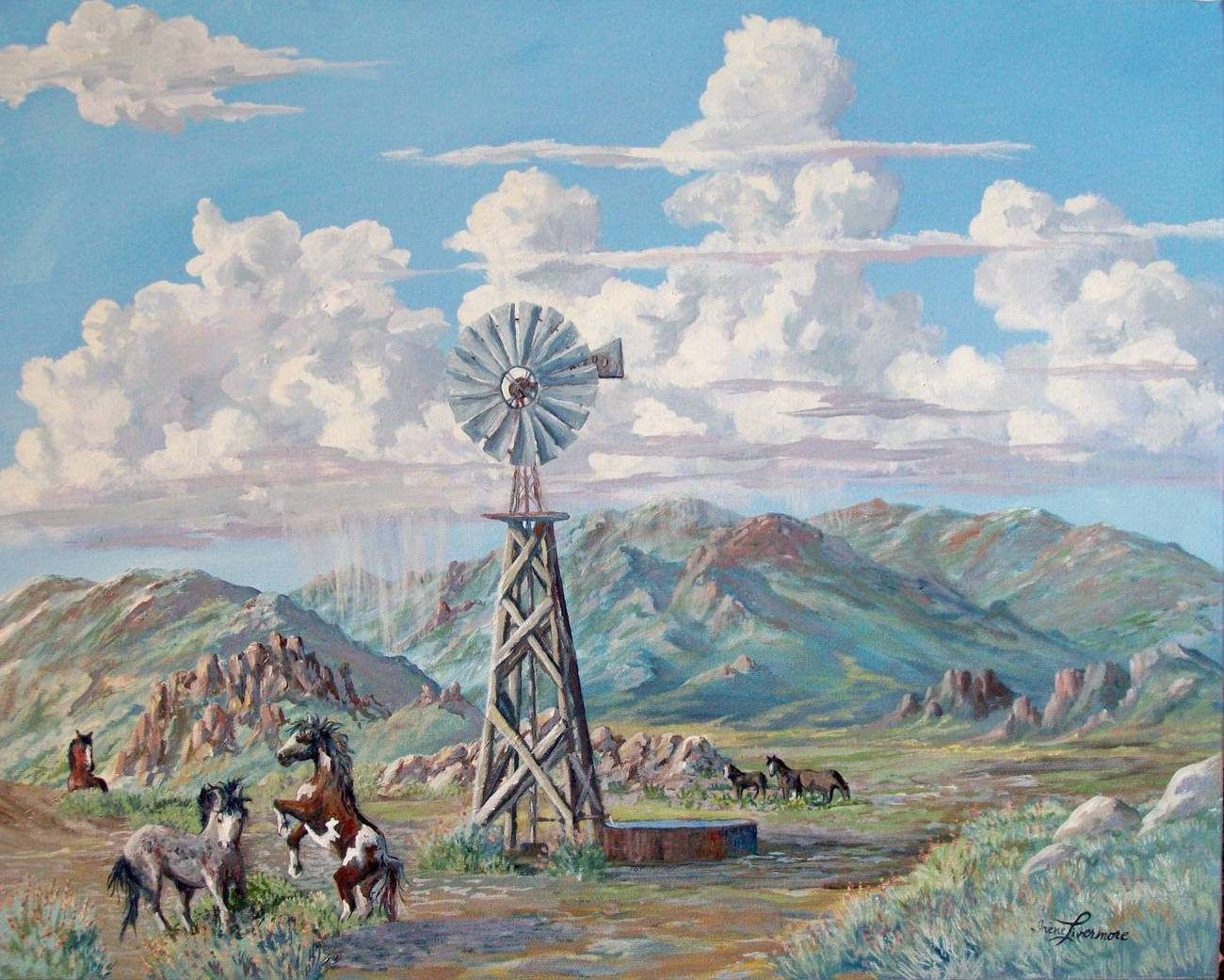 Wild Horses Windmill Realistic Original Landscape Oil Painting Stretch Canvas