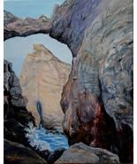 Cape Kiwanda Keyhole Seascape Oregon Realistic Original Oil Painting on ... - $765.00