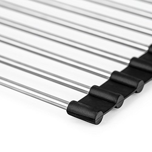 Sunblo Roll Up Dish Drying Rack, Stainless Steel Over The Sink Dish Drying Rack