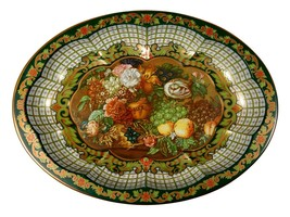 Vintage Daher Oval Scalloped Tray - Lovely Floral and Fruit Metal Platter - $16.36