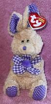 Petunia Tan Bunny Gingham Flower Ty Beanie Baby 2006 MWMT Hallmark Exclusive - $10.99