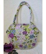 Vera Bradley Watercolor Angle Tote Shoulder Bag Gray Lavender Pink Quilt... - $30.00