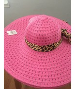 (PINK) Sun-Floppy-Hat--Beach-Summer-Wide-Brim-With-Animal-Print-Ribbon - $14.84