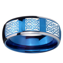 Multiple Square Celtic 8mm Two Tone Blue Dome Tungsten Ring - $39.99