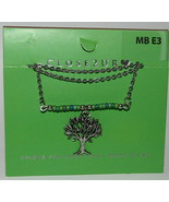 """Tree Necklace New Silver Tone 19"""" Chain Charm Green Beads USA Made - $24.24"""