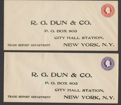 (2) R. G. Dun & Co Unsent Envelopes To City Hall Station, New York, N.Y. - $8.06