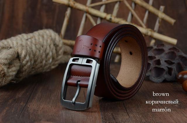 COWATHER cowhide genuine leather belts for men brand Strap male pin buckle vinta image 2