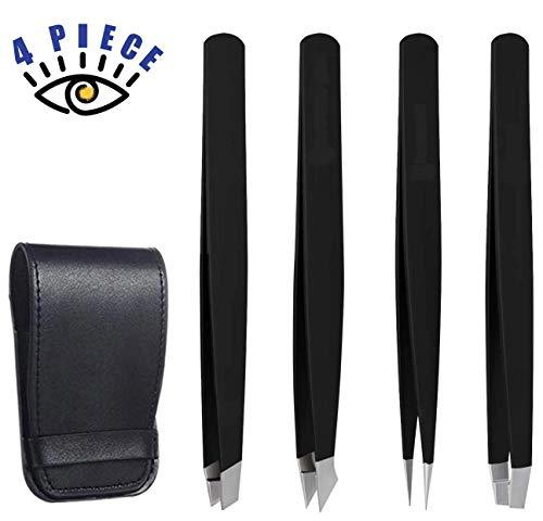RoosterCo Eyebrow Tweezer Set with Travel Case,4-piece Daily Beauty Tools for Ha