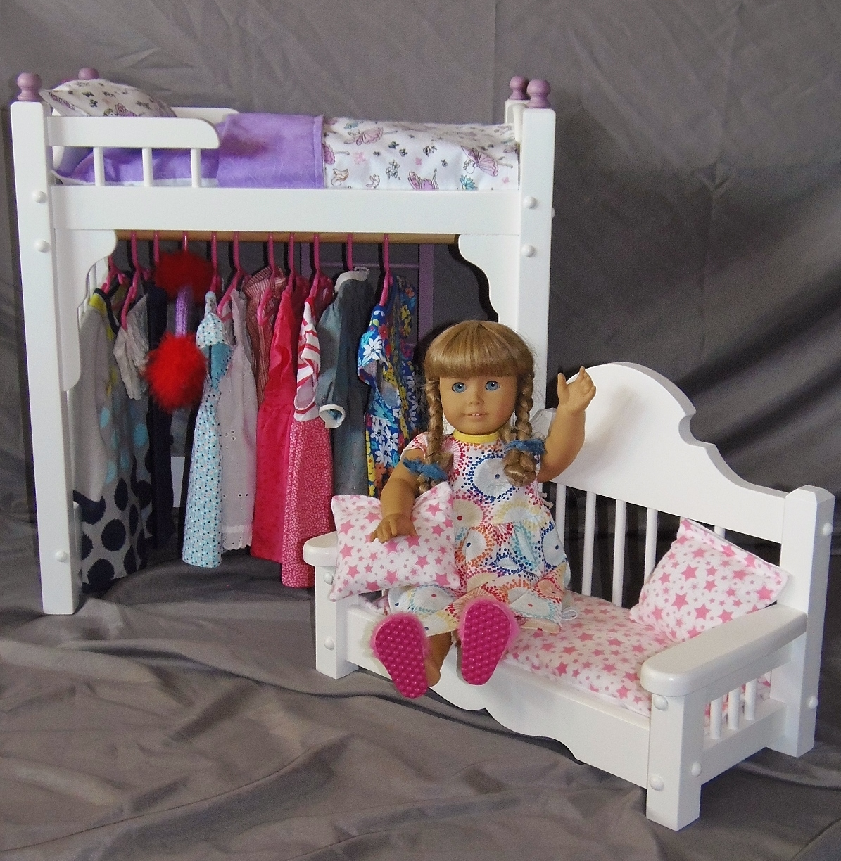 American Girl Doll Bed And Clothes Storage Unit Combo With Adorable Doll  Sofa