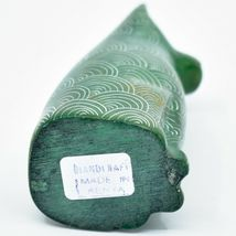 Vaneal Group Hand Carved Kisii Soapstone Green Sitting Kitty Cat Figurine Kenya image 5