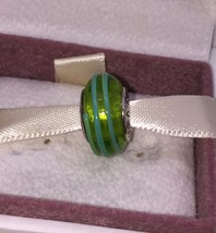 NEW Pandora Sterling Silver Green Blue Ribbon Swirl Murano Glass 790615 ... - $37.74