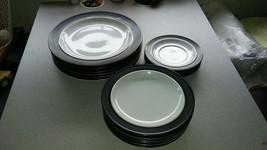 Vintage Crown Corning Dinner Salad Saucer Plates ~Rare~ White w/ Black R... - $145.00